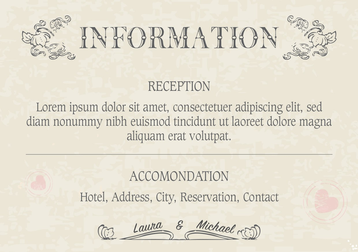 Wedding Information Cards - Design 1