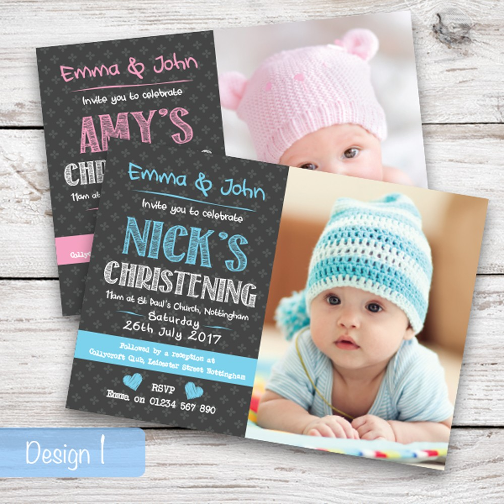 Christening Invitations - Design 1