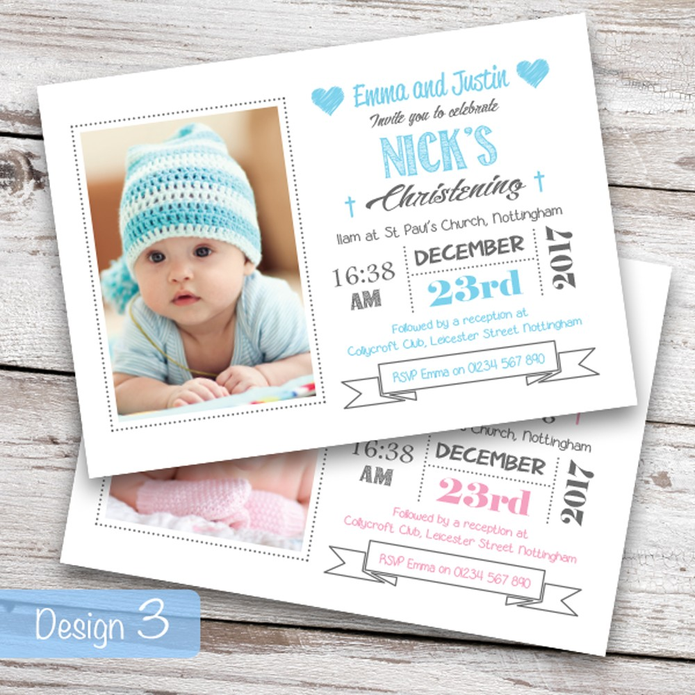 Christening Invitations - Design 3