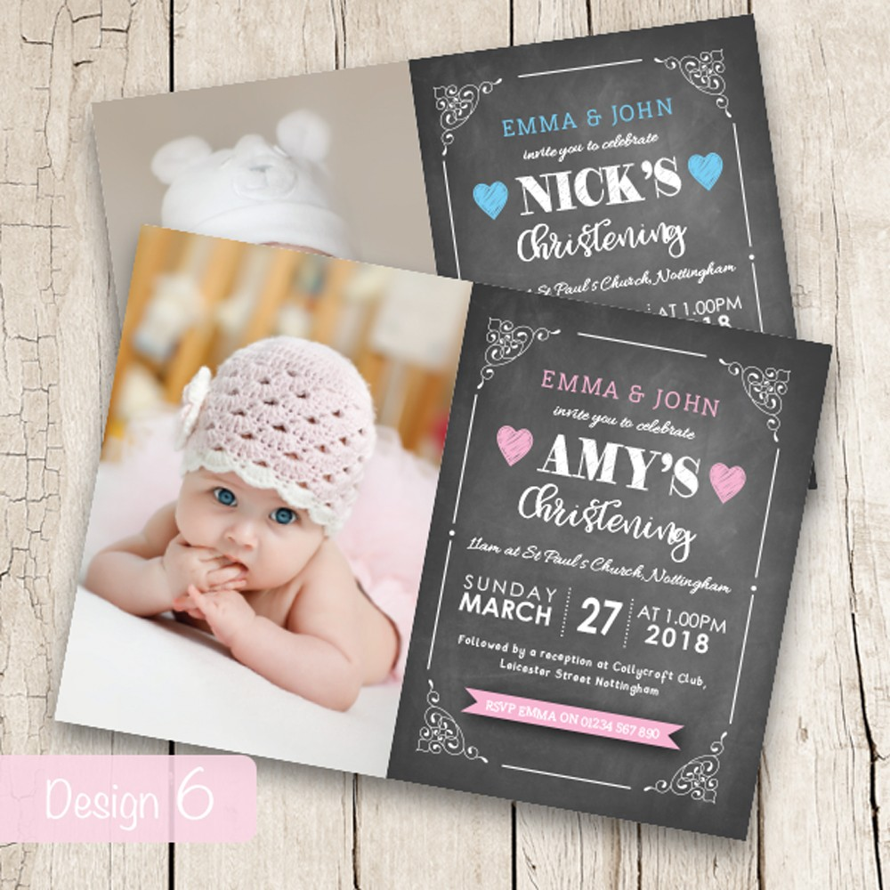Christening Invitations - Design 6
